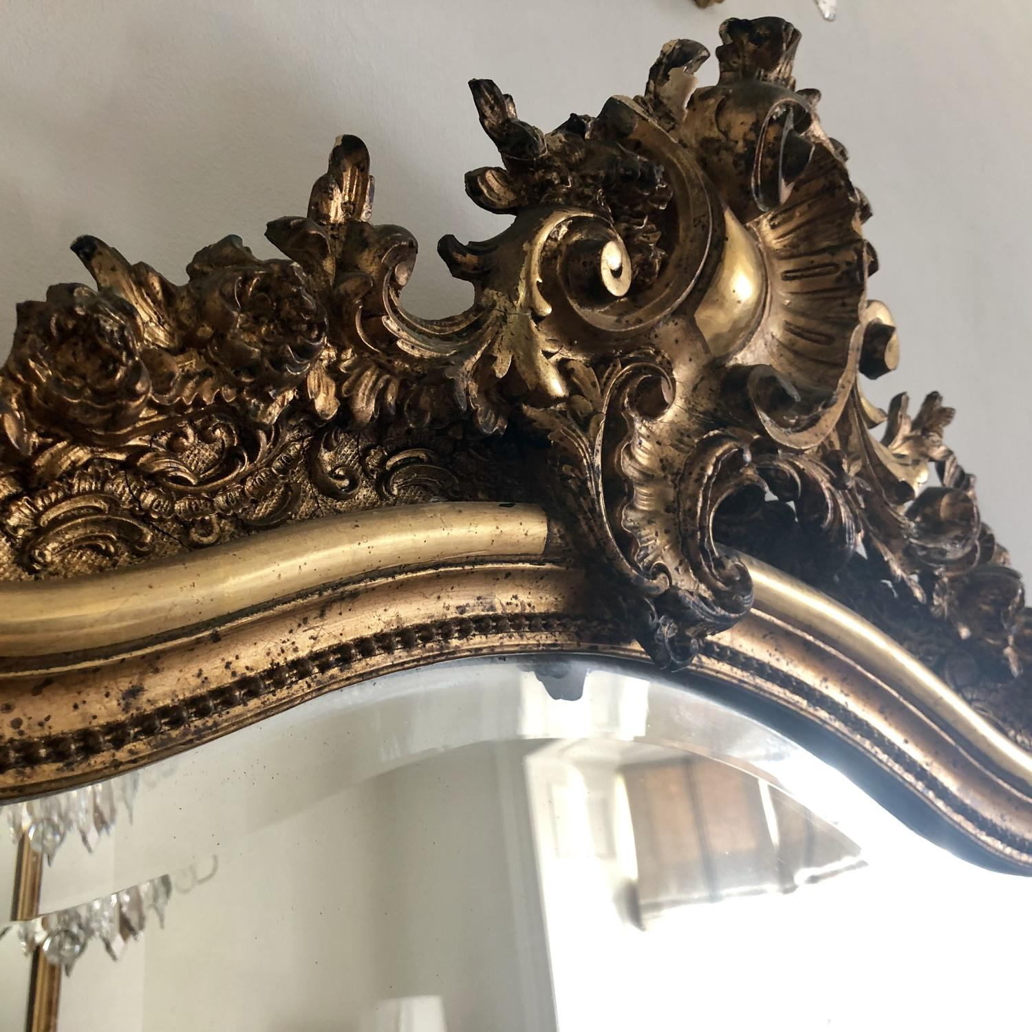 Large 19th century French gilt Louis XV mirror