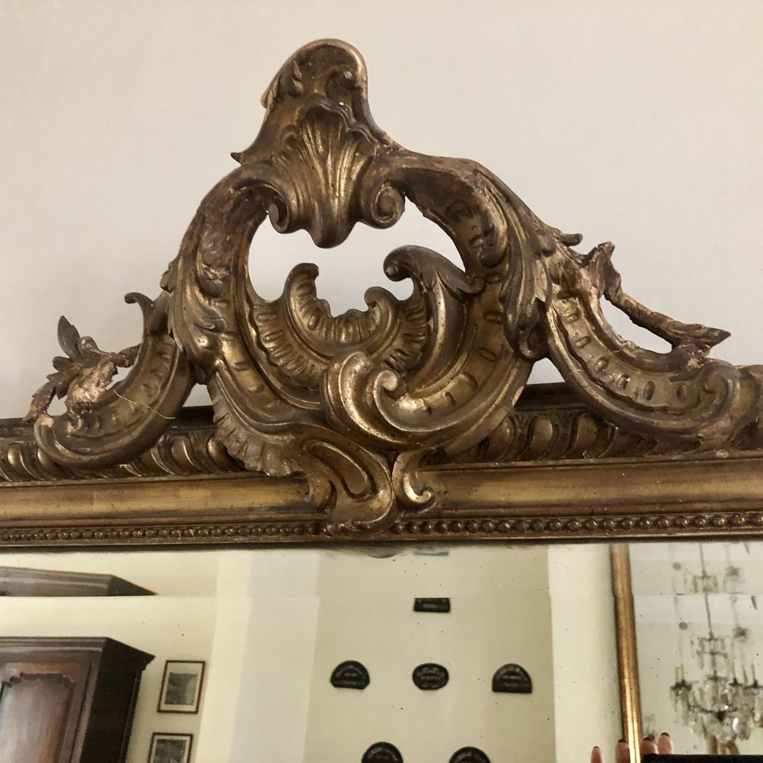 Large Antique French 19th century gilt crested mirror