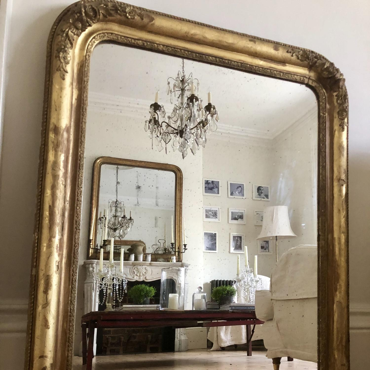 Antique French 19th century gilt Louis Philippe mirror