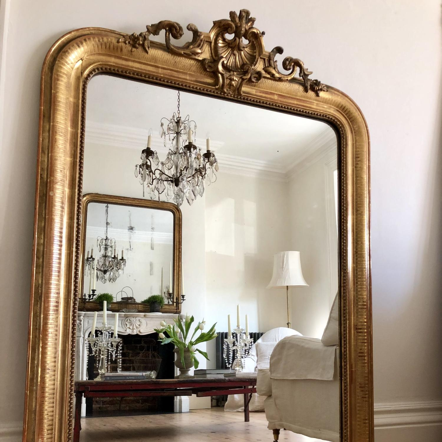 Large French antique gilt crested Louis XV mirror
