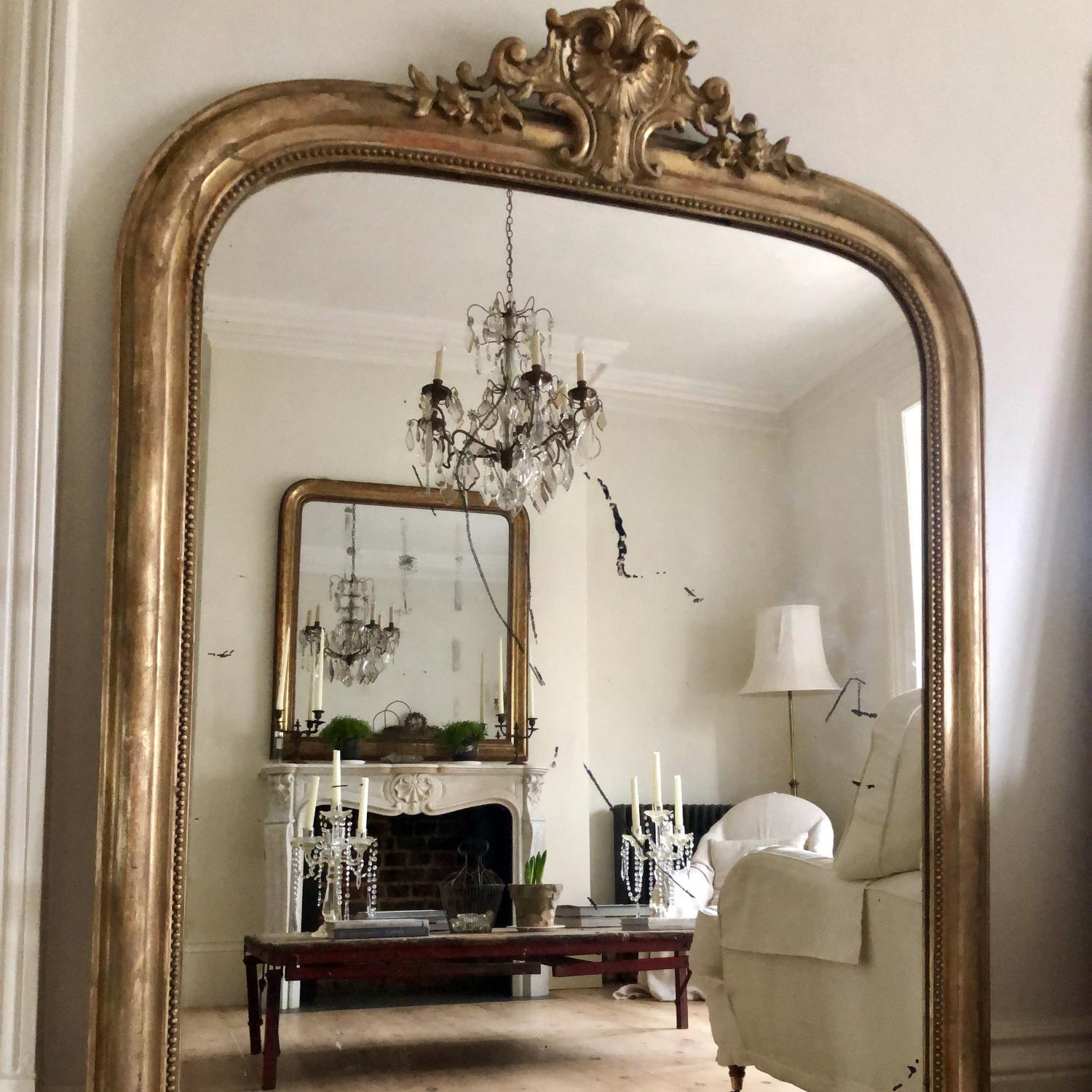 Large antique 19th century gilt Louis XV mirror