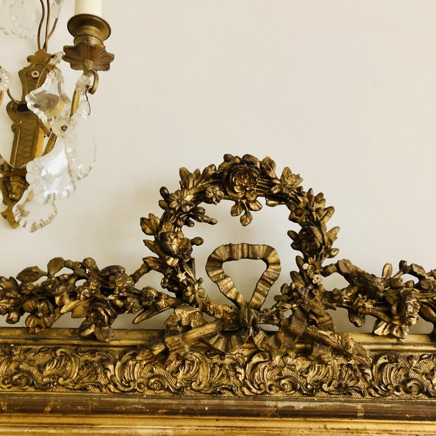 Huge 19th Century French gilt crested leaner mirror