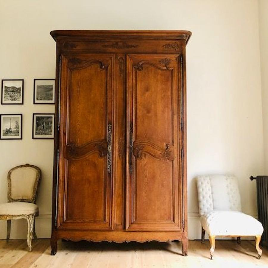 Antique French oak 19th century armoire wardrobe