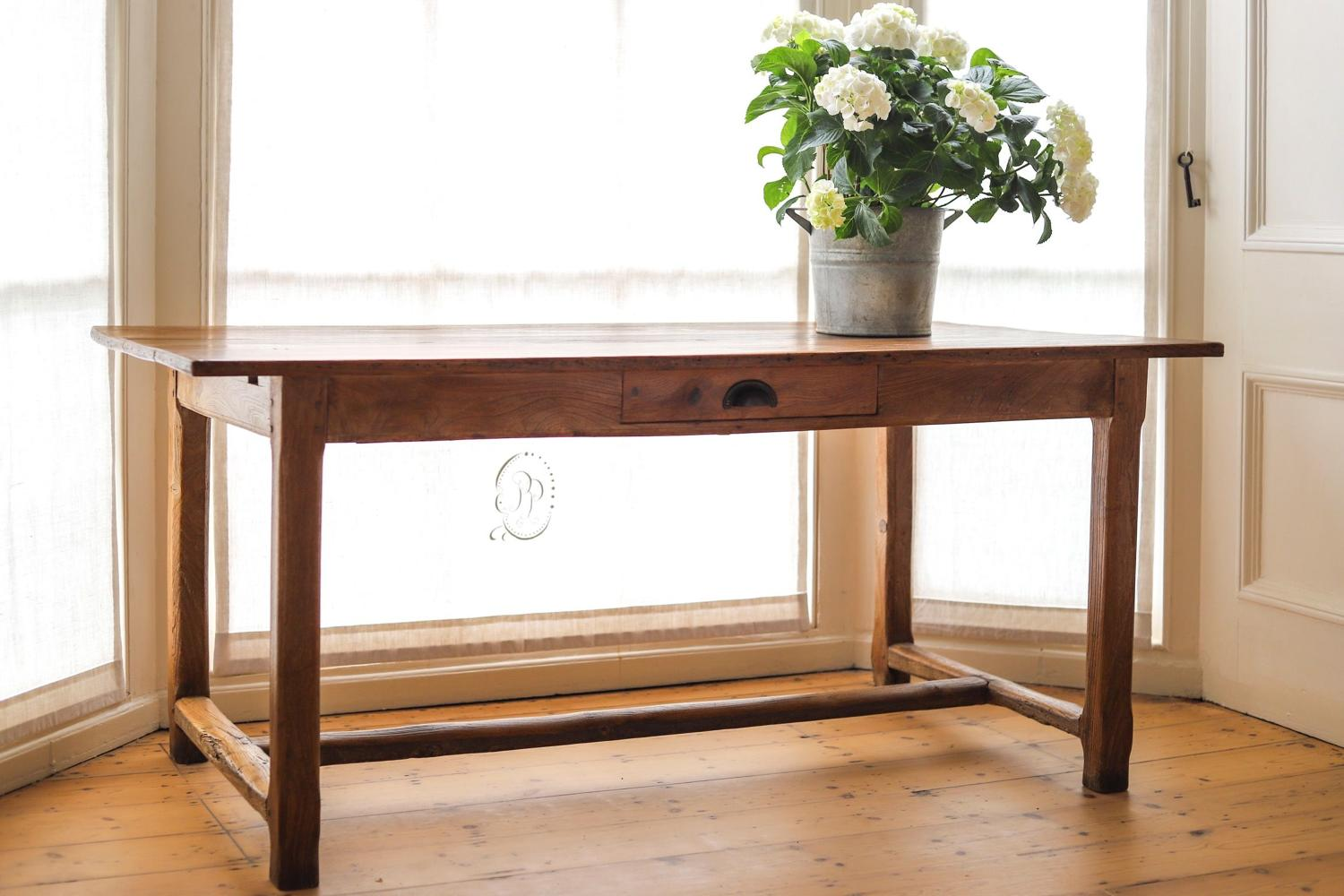 19th century French antique elm farmhouse table