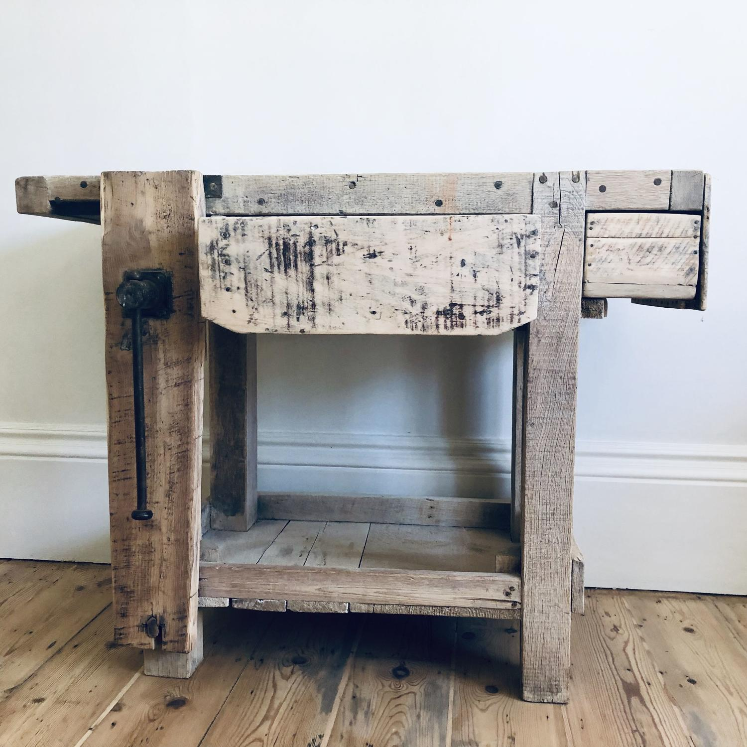 Antique French industrial work bench with vice