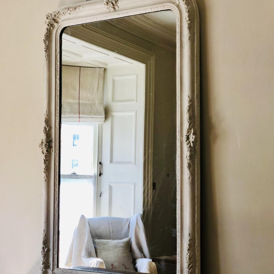 19th century French antique painted floral mirror