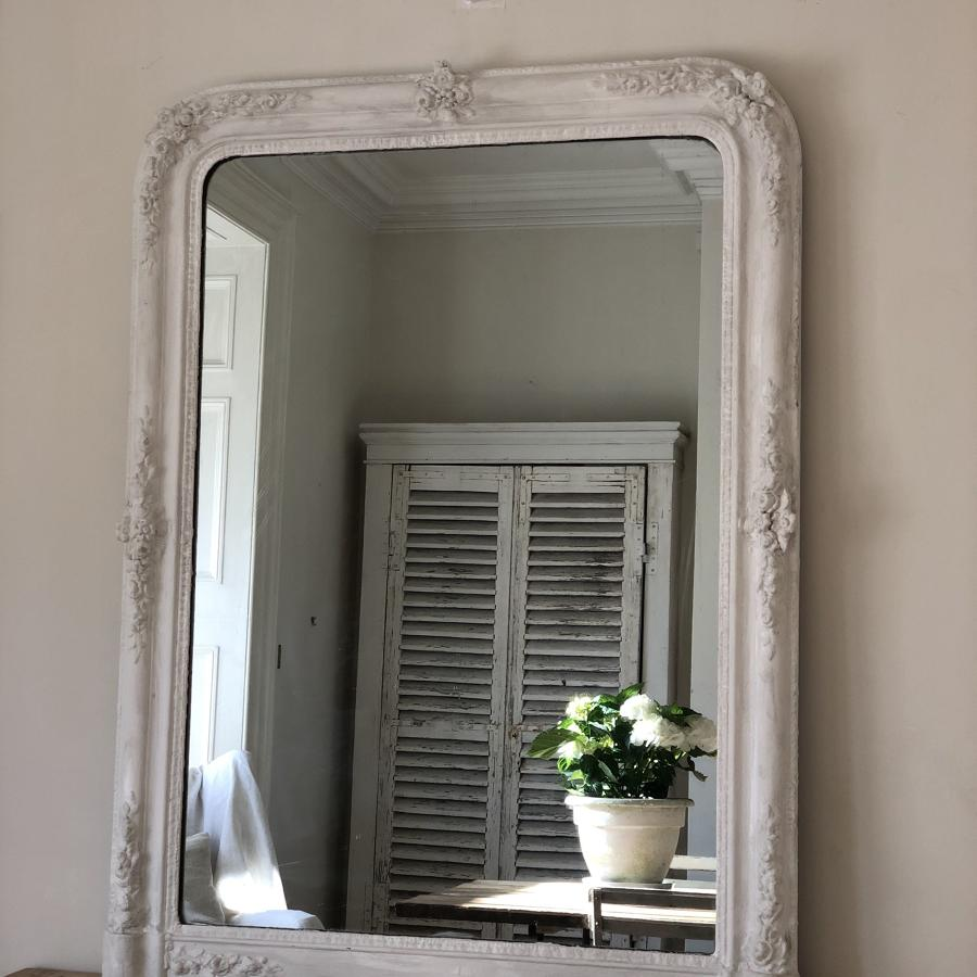 19th century French antique painted overmantel mirror