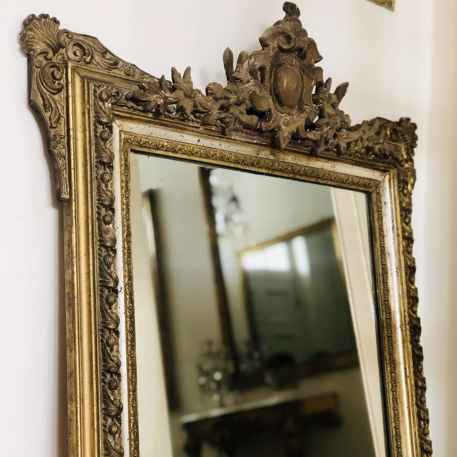 19th century French antique gilt crested mirror