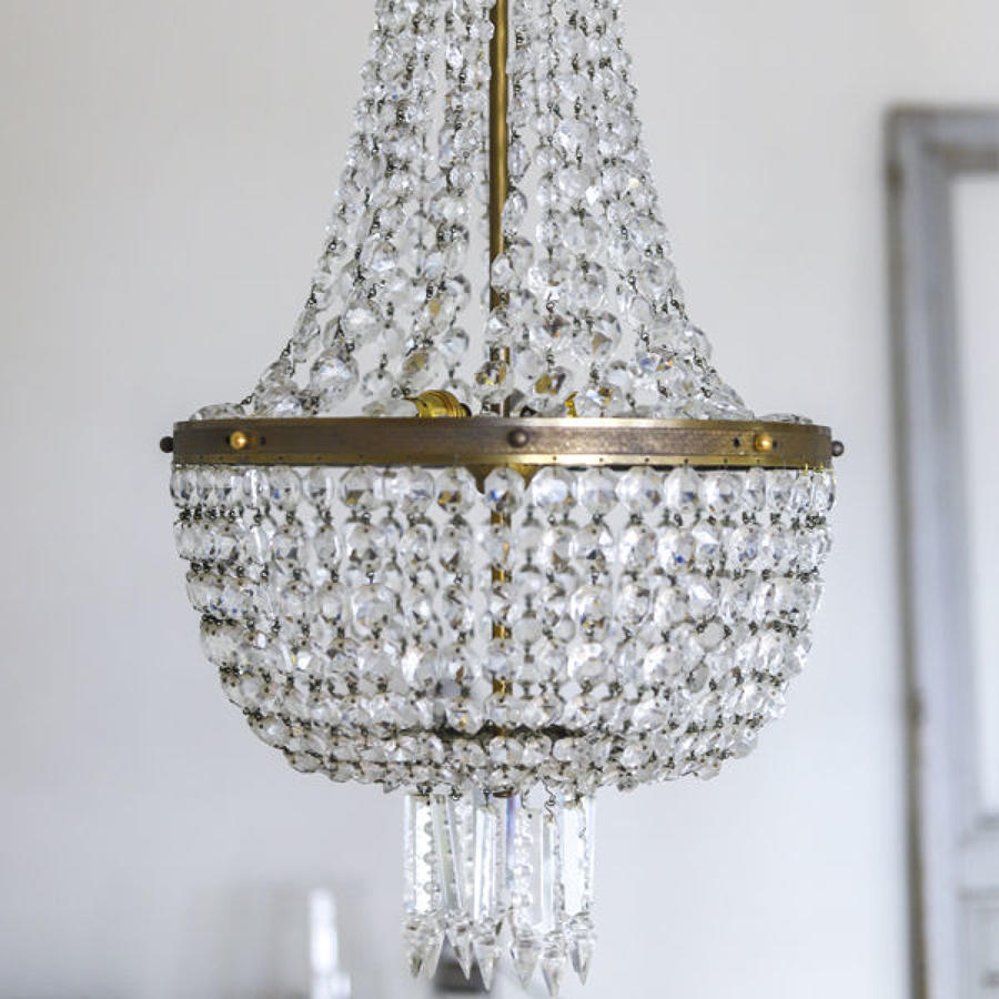 Huge antique French crystal bag balloon chandelier circa 1910