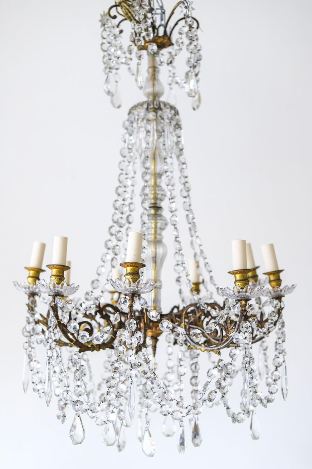Large French antique crystal 8 branch chandelier c1870