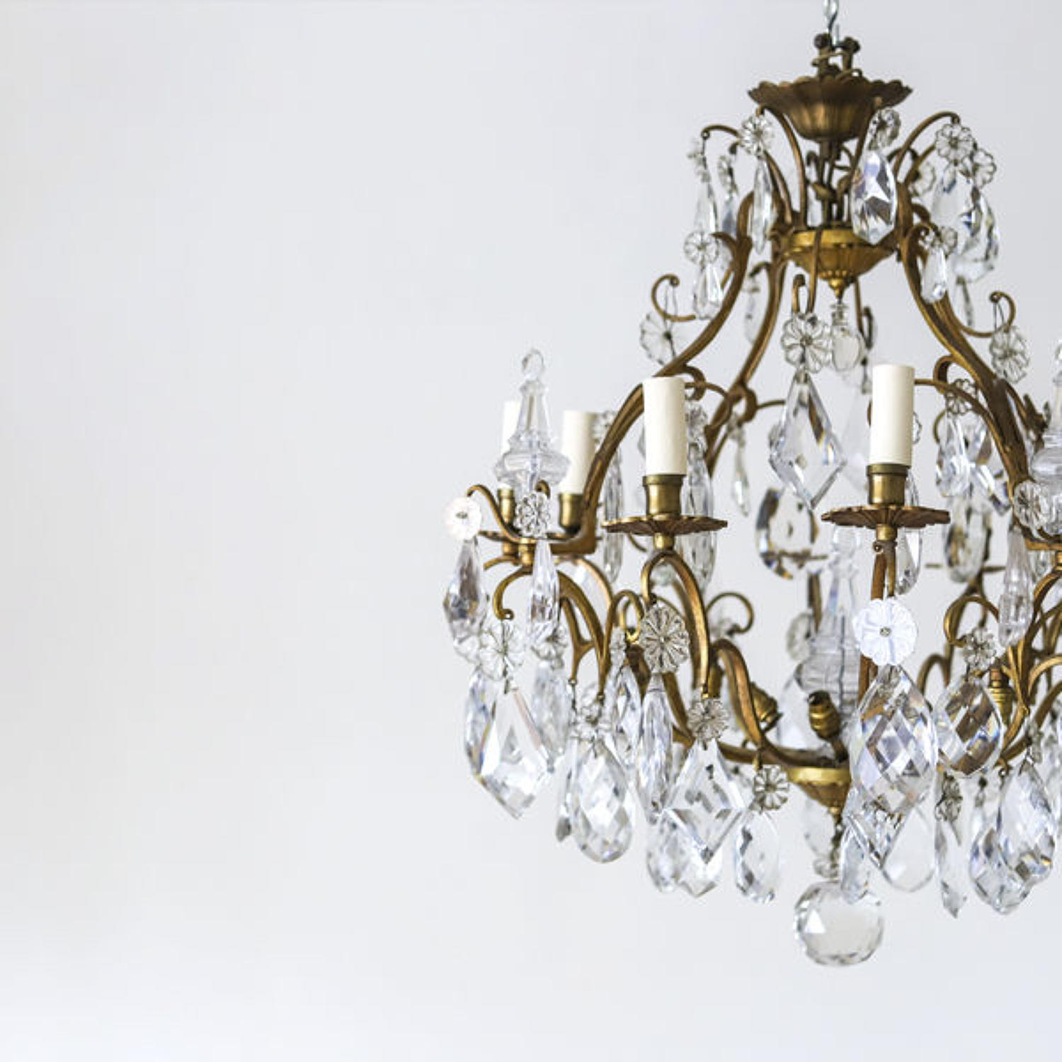 Large French antique 8 branch cage chandelier