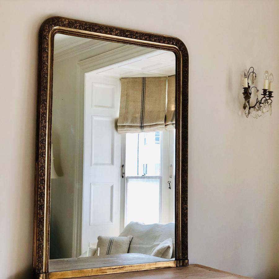 Large 19th century French antique Louis Philippe gilt mirror