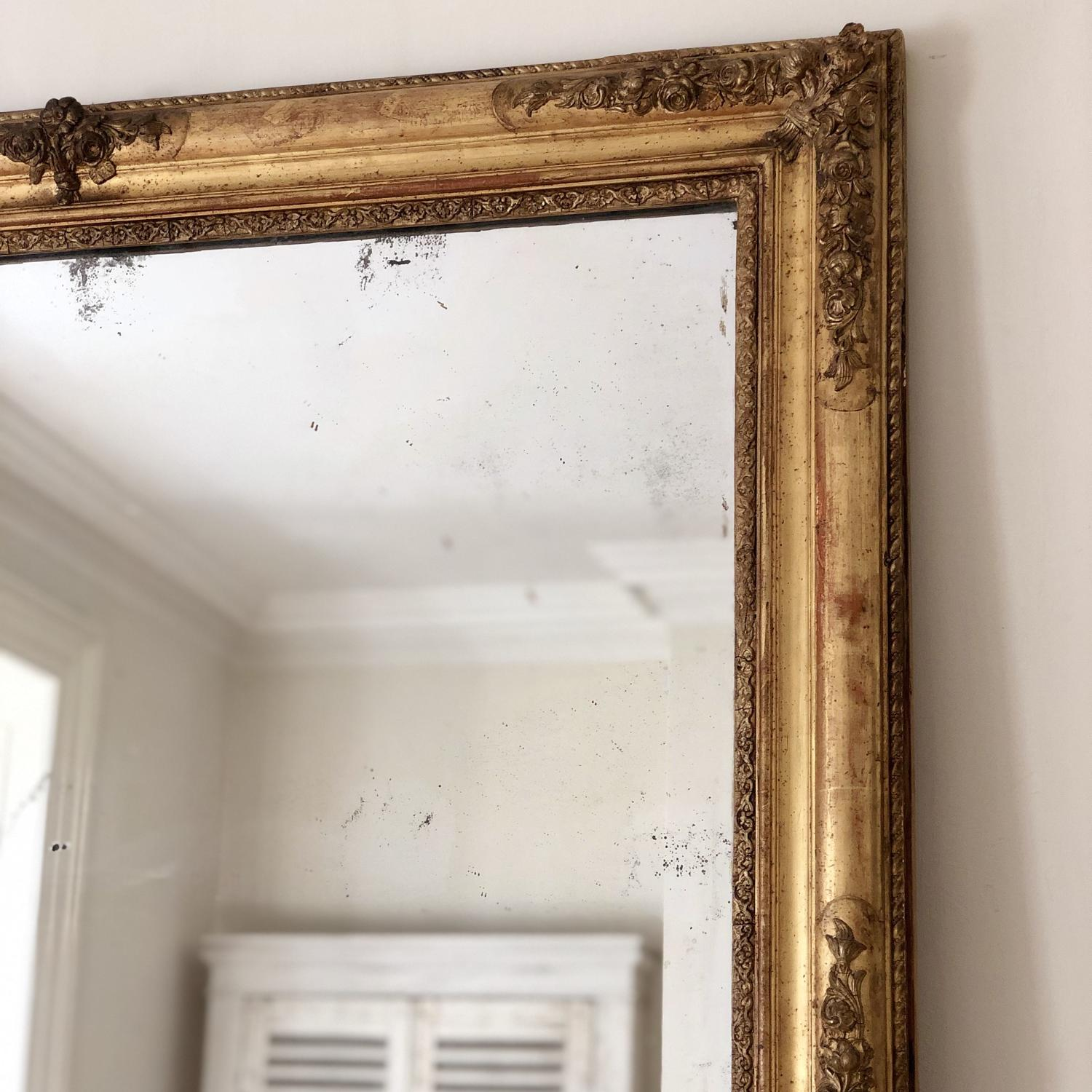 Huge 19th century French gilt rectangular mirror - mercury glass