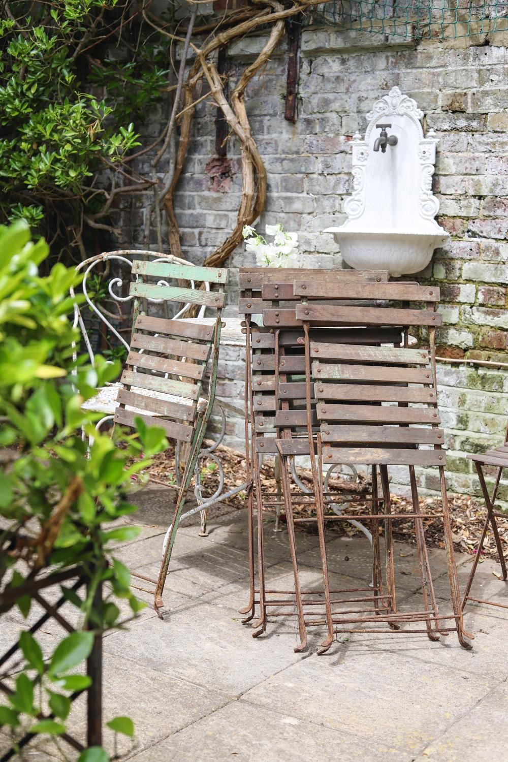Set of 6 French antique garden bistro folding chairs
