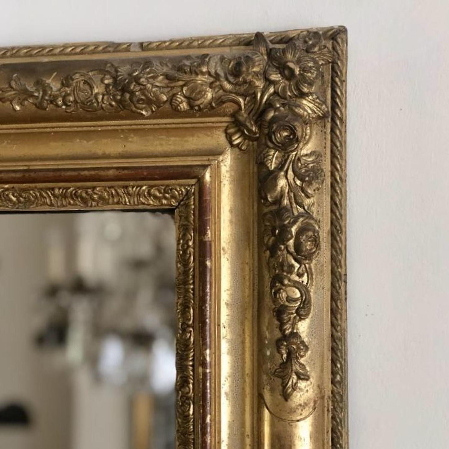 French antique 19th century gilt mirror