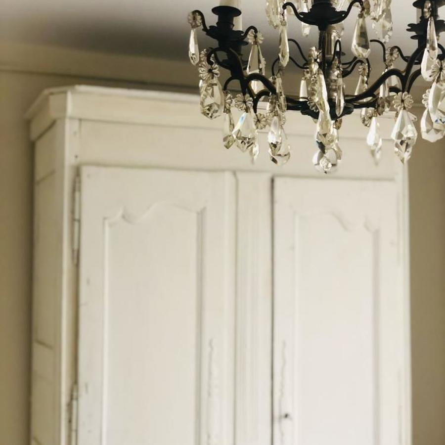 French antique painted double armoire