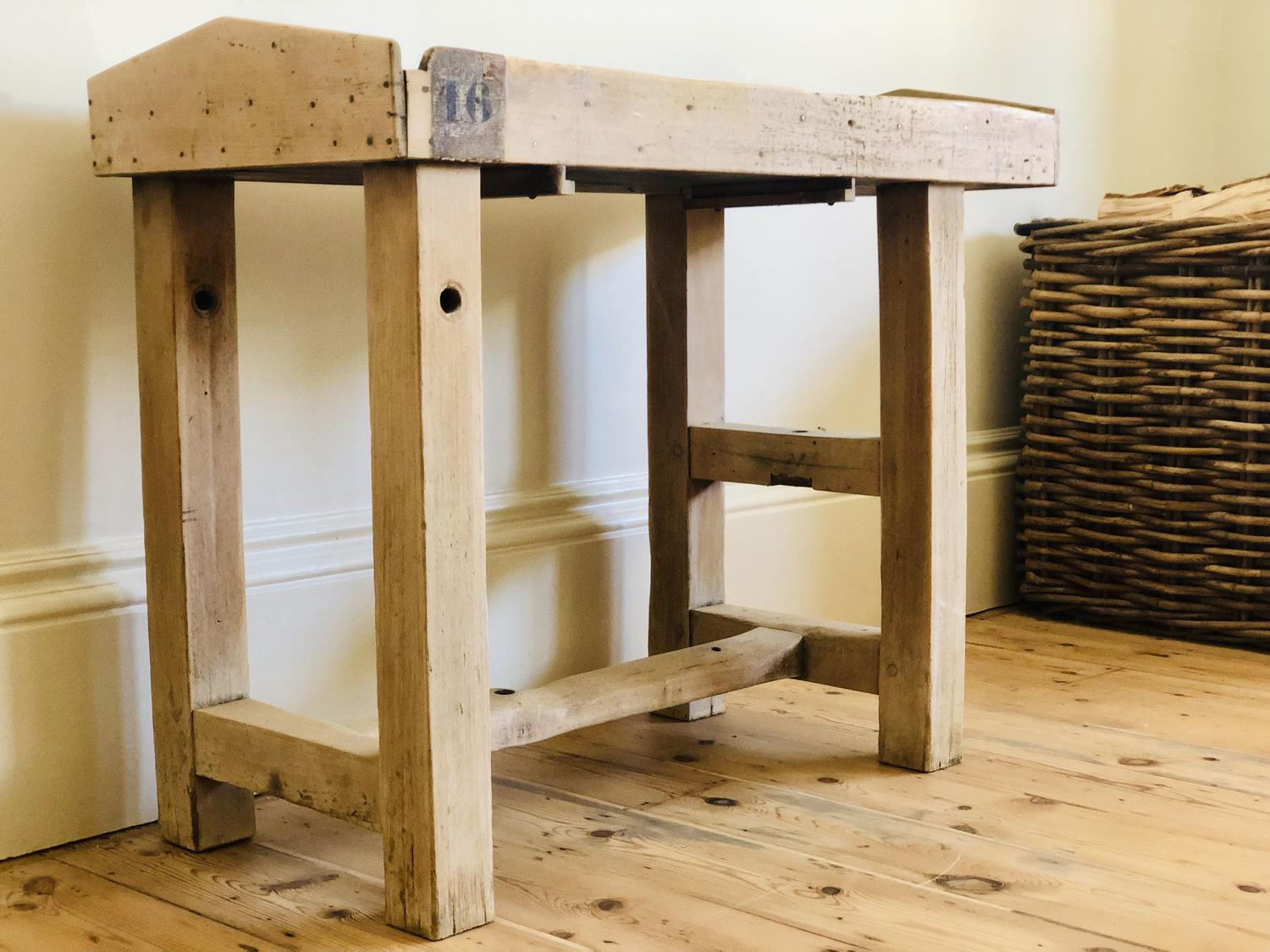 French antique oak and zinc workbench