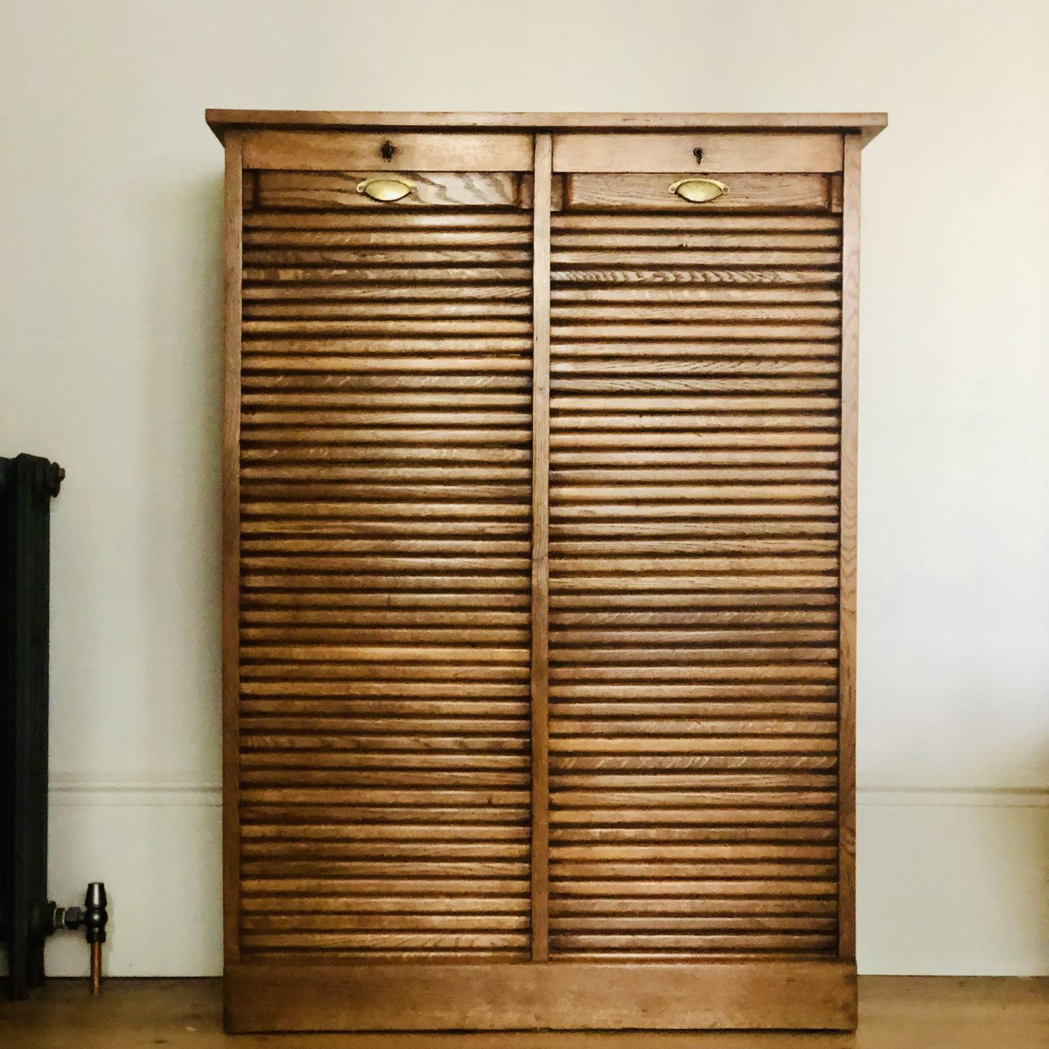 French antique oak double tambour filing cabinet