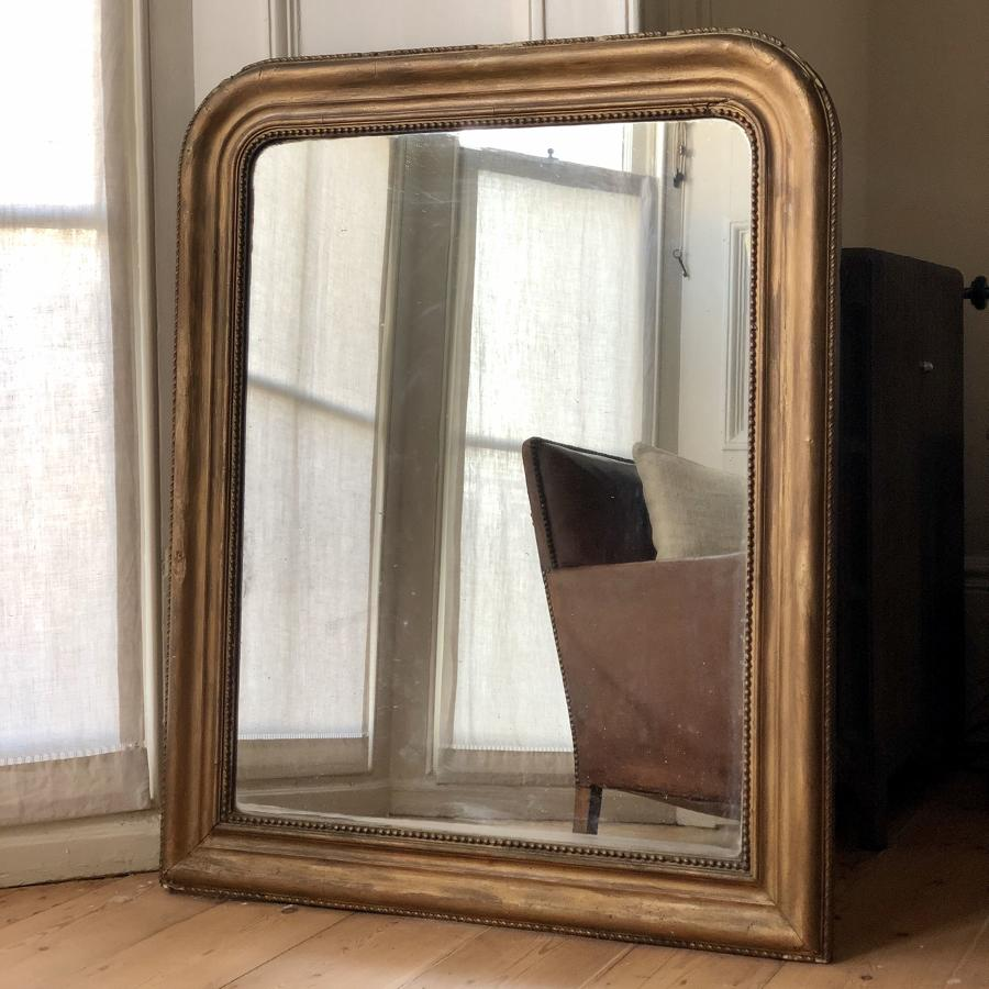 French antique Louis Philippe gilt mirror c1860