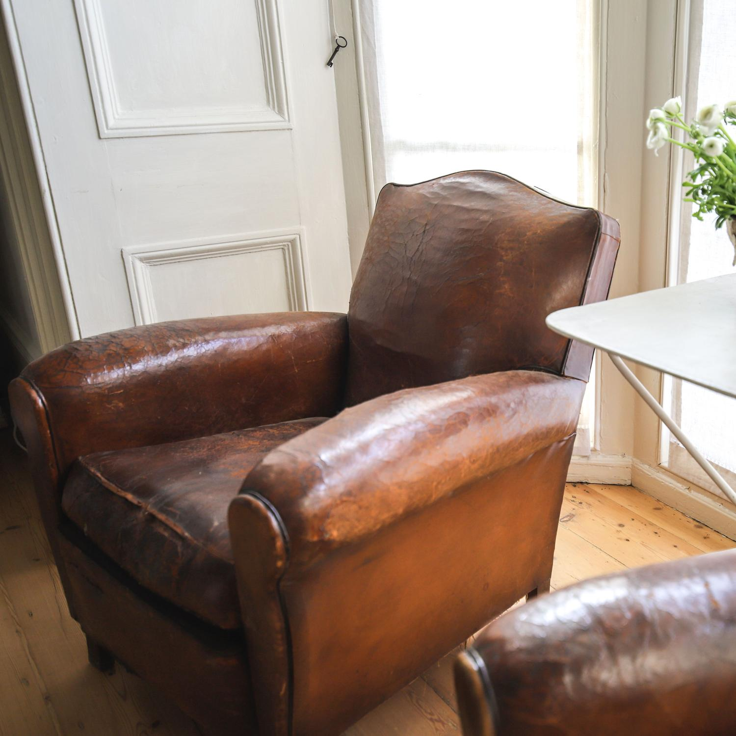 Vintage French leather Art Deco club chairs