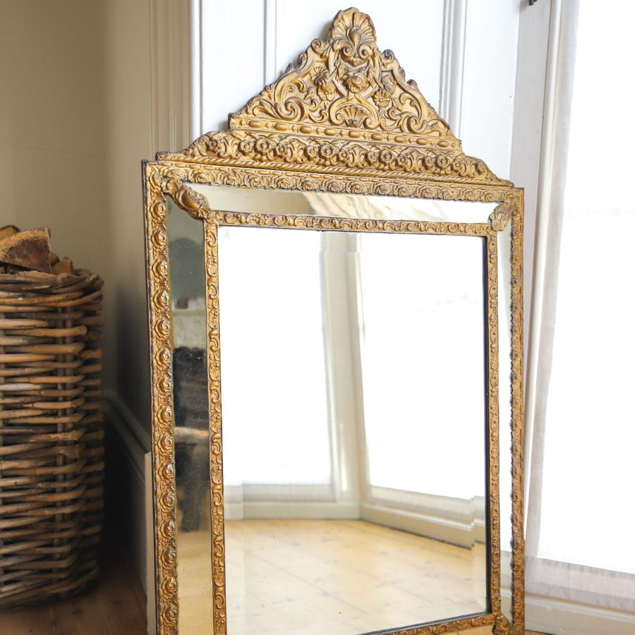 19th century French antique cushion mirror