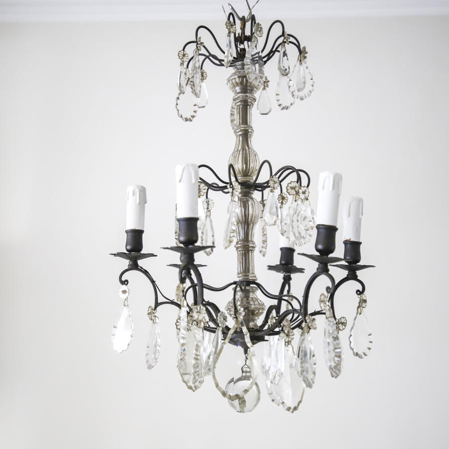 French antique crystal 6 branch chandelier