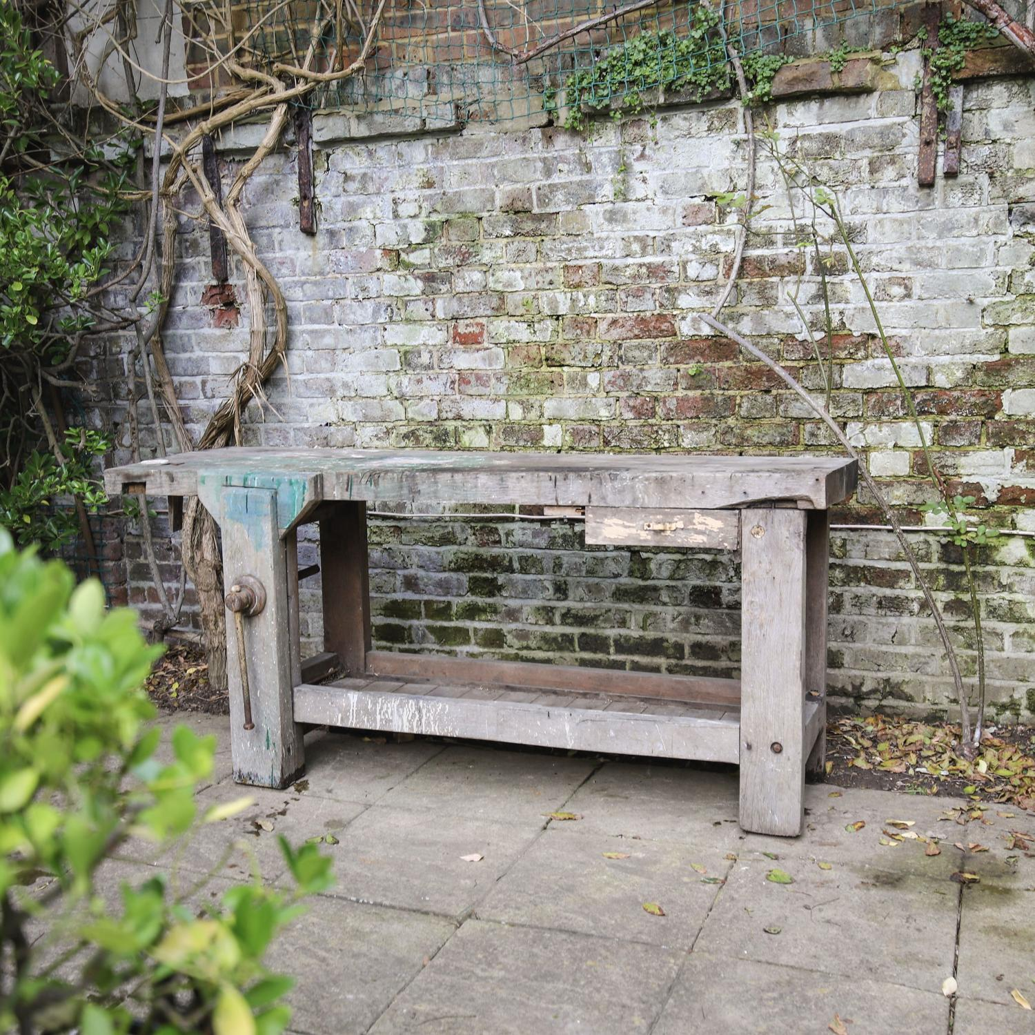 Vintage French oak workbench