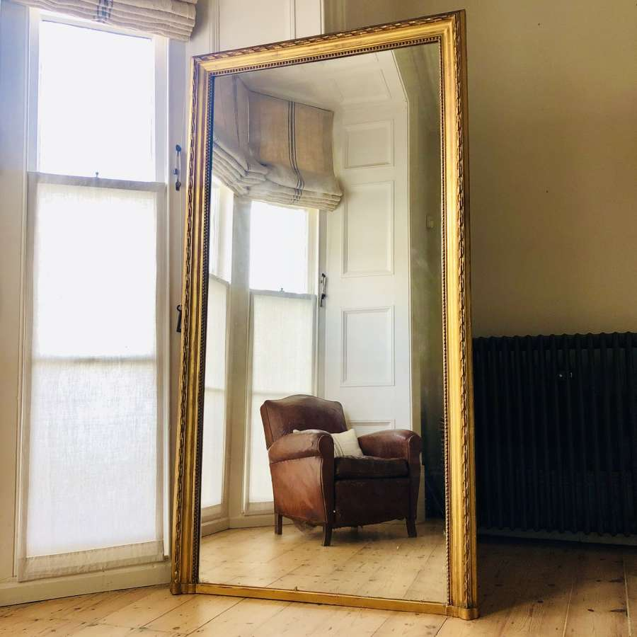 Huge 19th century French antique gilt leaner mirror overmantel