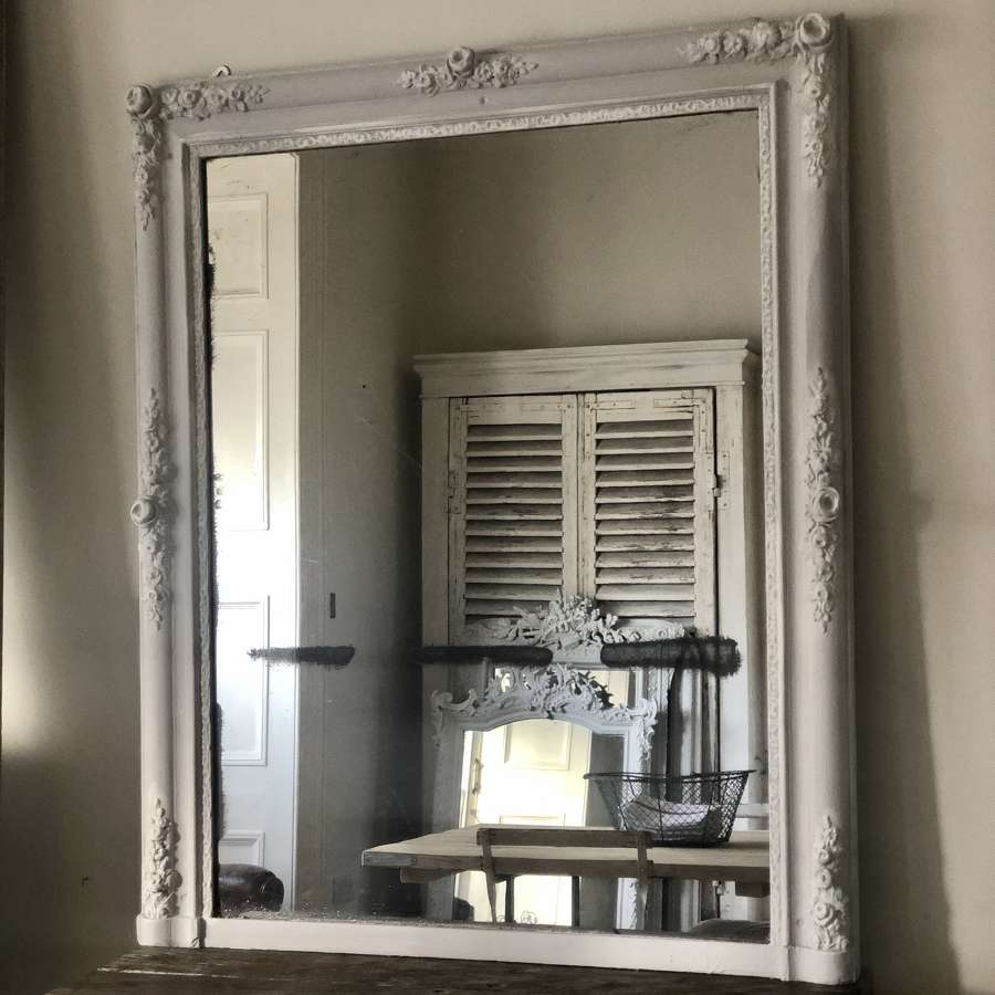 19th century French antique painted mirror - mercury glass