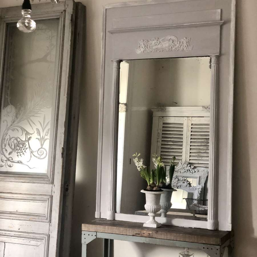 Large French antique painted trumeau mirror - mercury glass