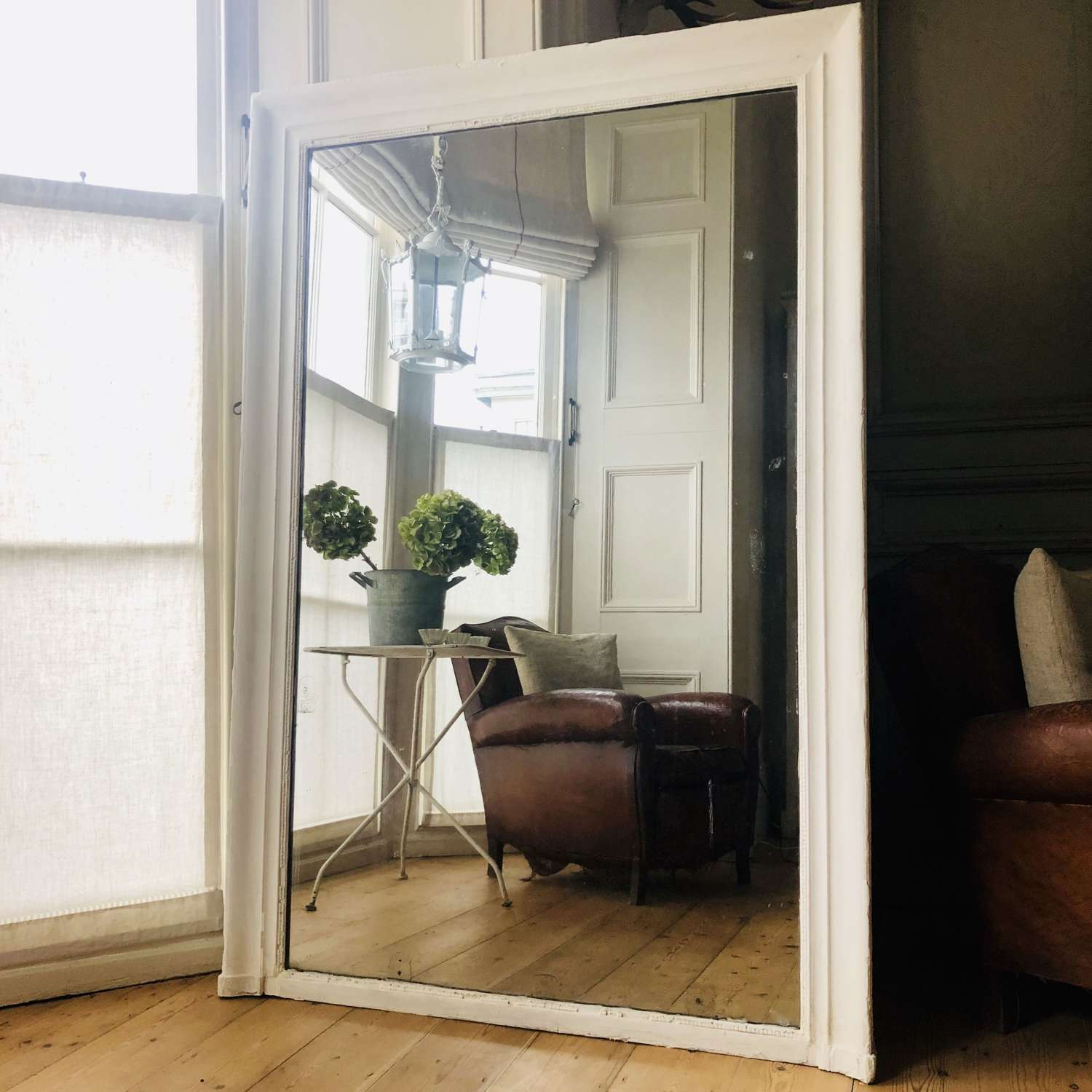 19th century French  painted leaner mirror - mercury glass
