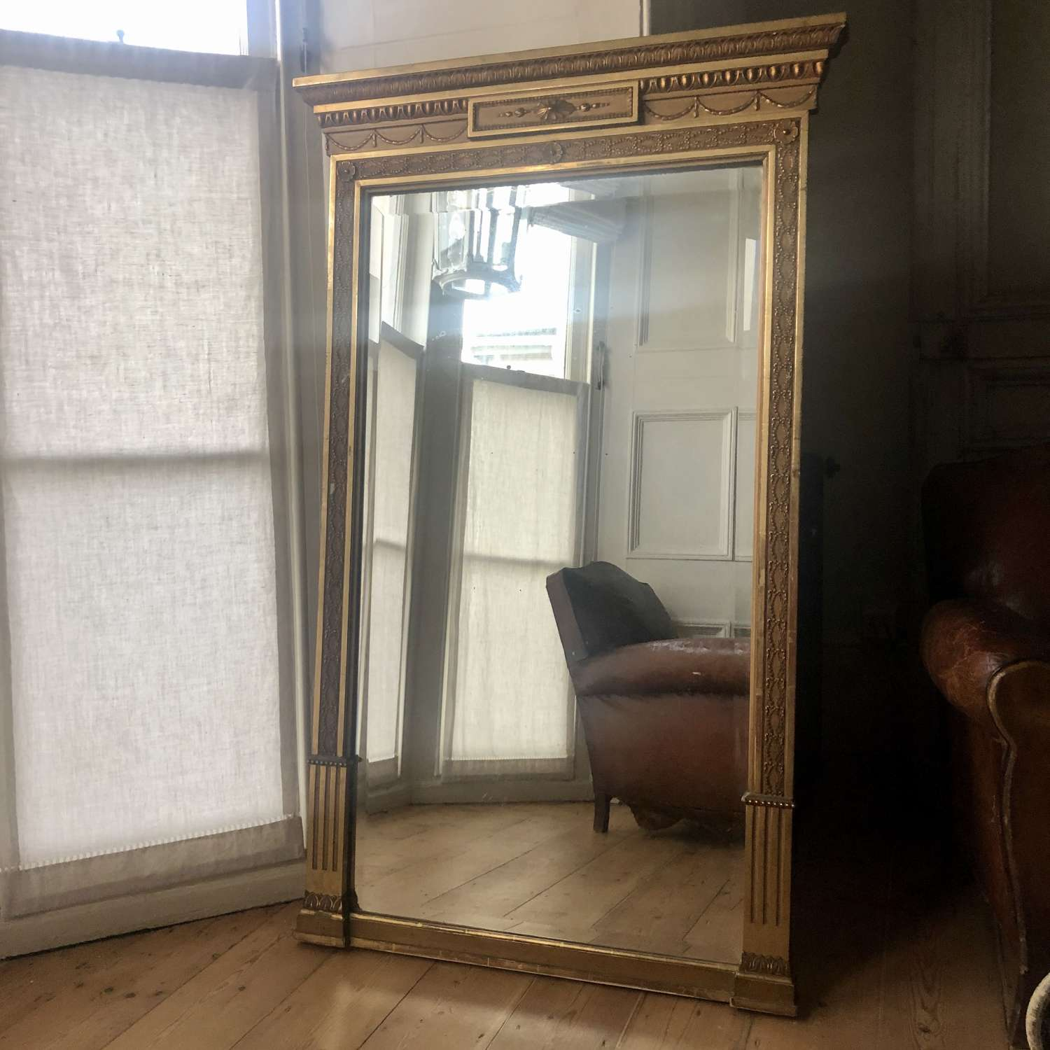 19th century French antique gilt overmantel mirror