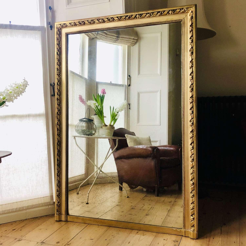 Large Antique French gilt rectangular overmantel mirror mercury glass
