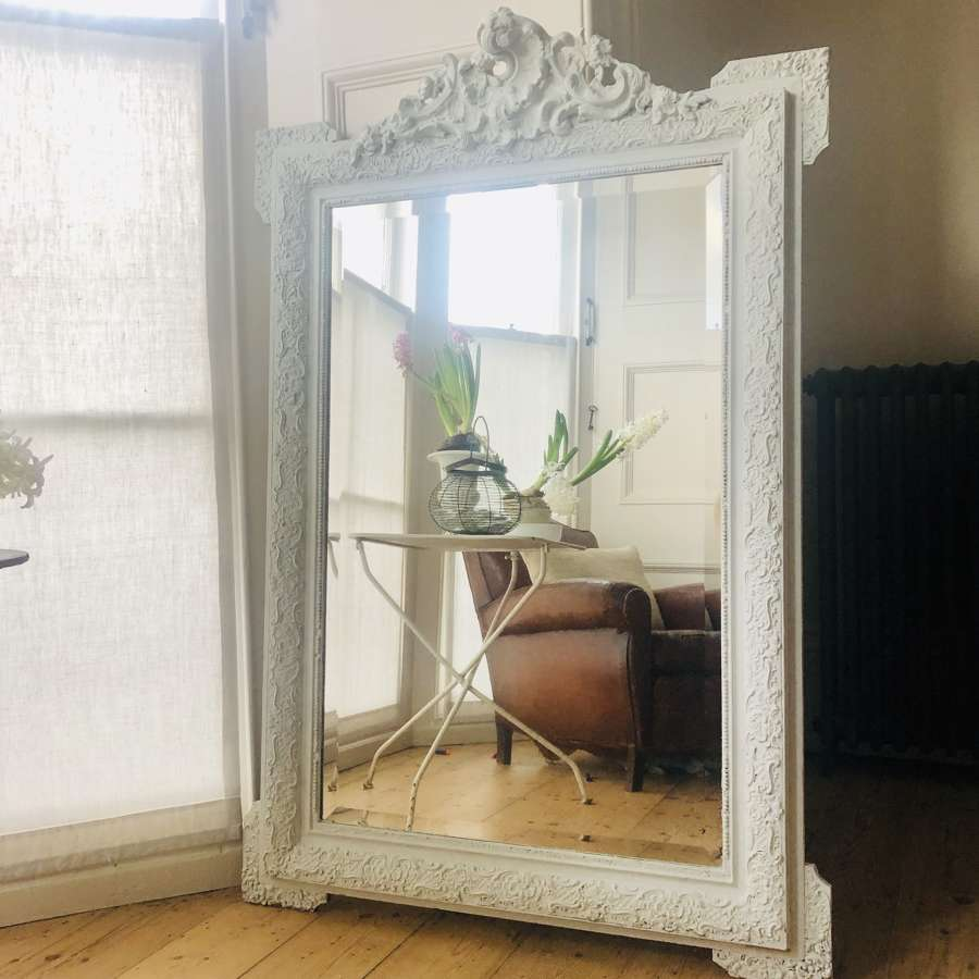 19th century French Louis XV painted mirror - bevelled glass