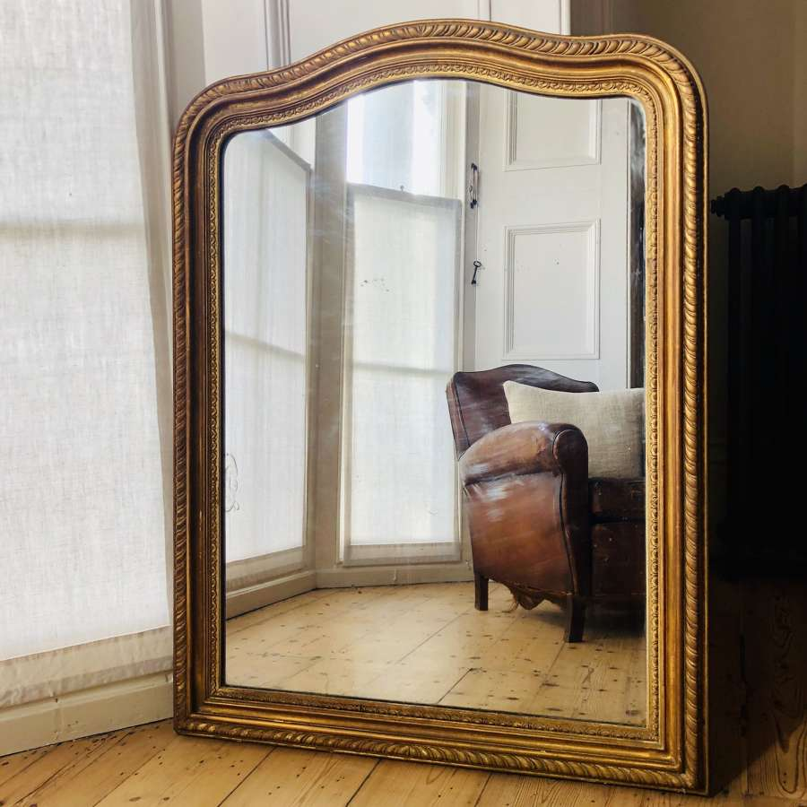 Antique French Louis Philippe gilt mirror c1860 - mercury glass