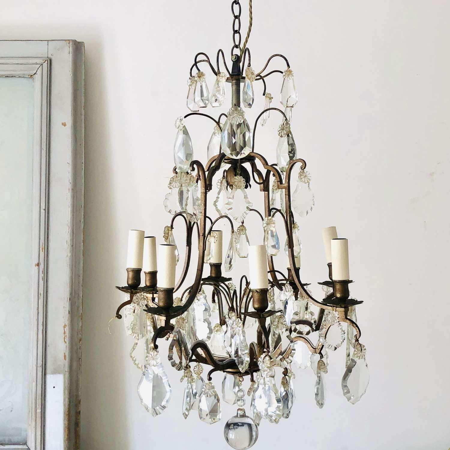 Large 19th century French antique cage chandelier - rewired