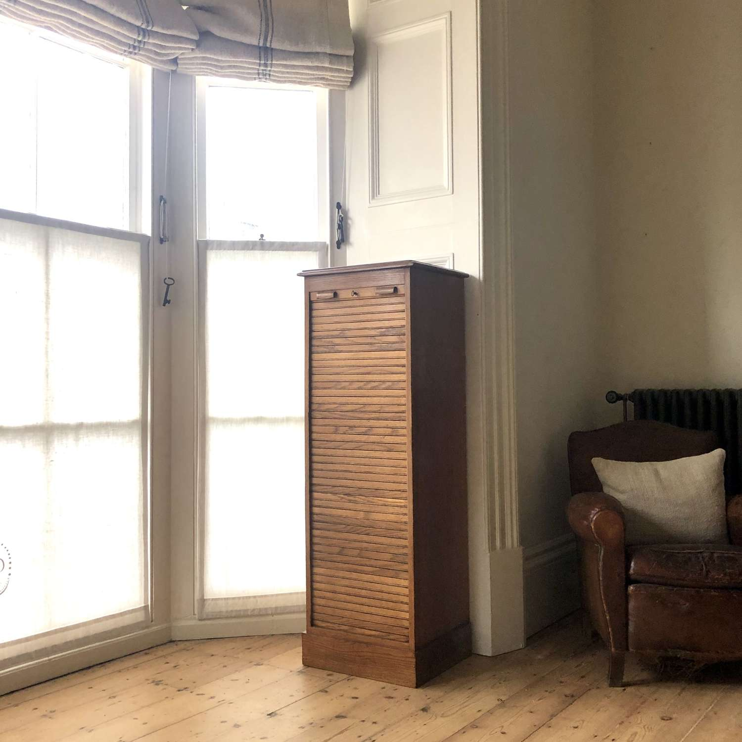 Art Deco French oak tambour front filing cabinet