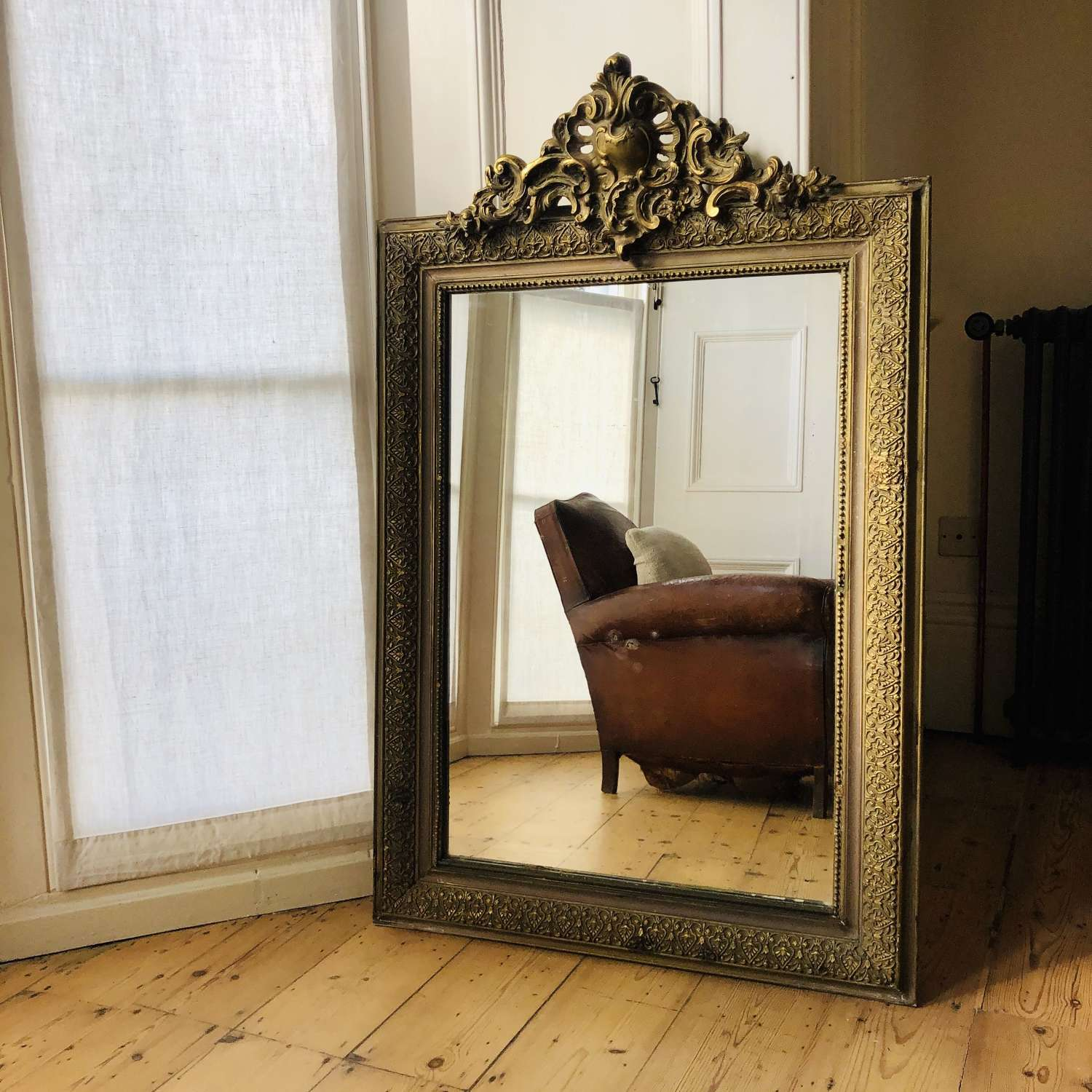 Antique French gilt Louis XV mirror
