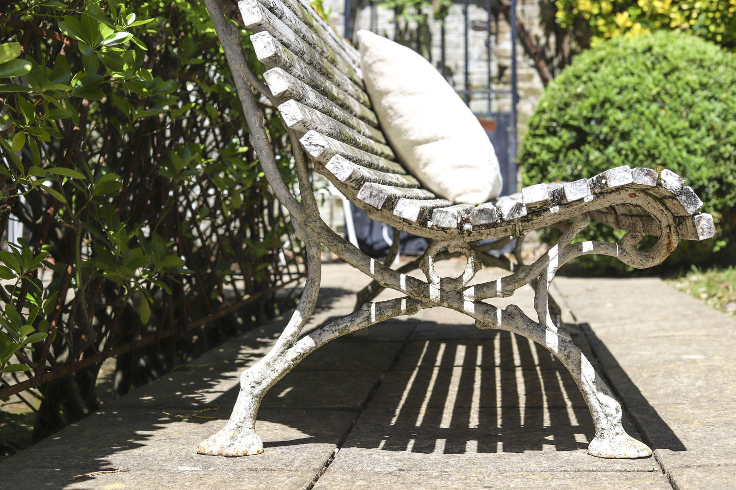 Antique French oak and iron garden bench