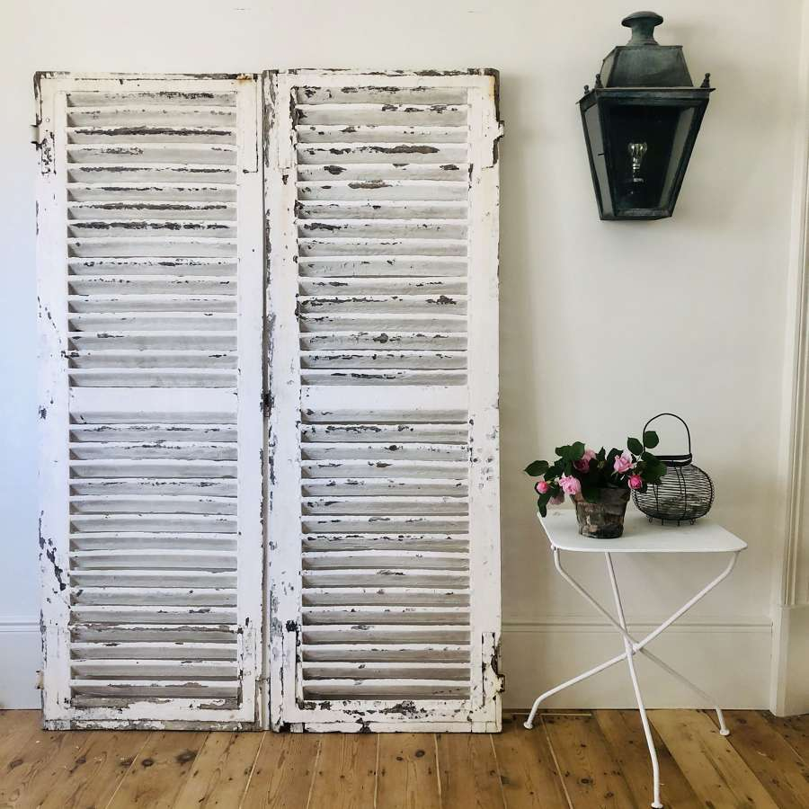 Antique French oak painted shutters
