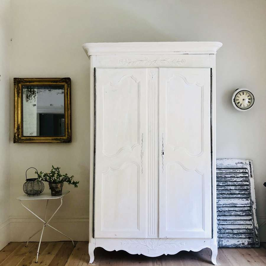 19th century antique French painted armoire wardrobe