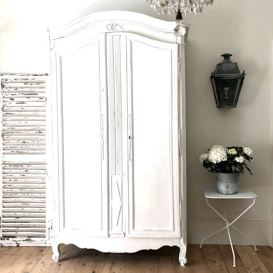 19th century French antique painted armoire wardrobe with hanging rail