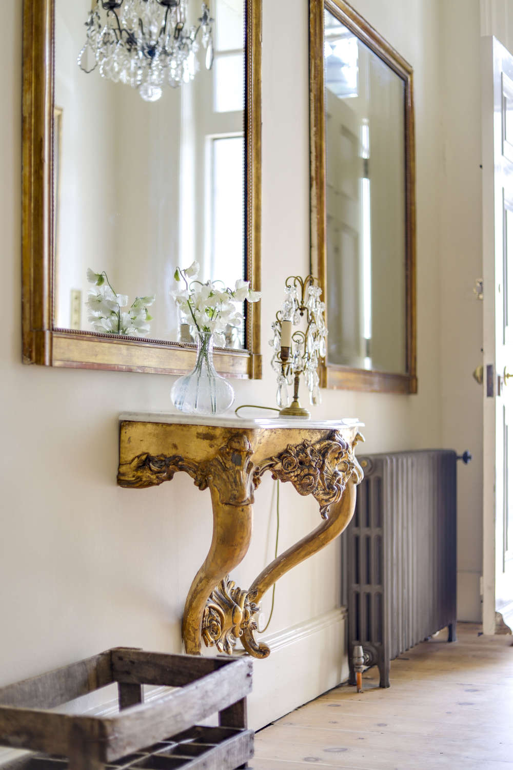 4 antique French gilt bistro mirrors - mercury glass