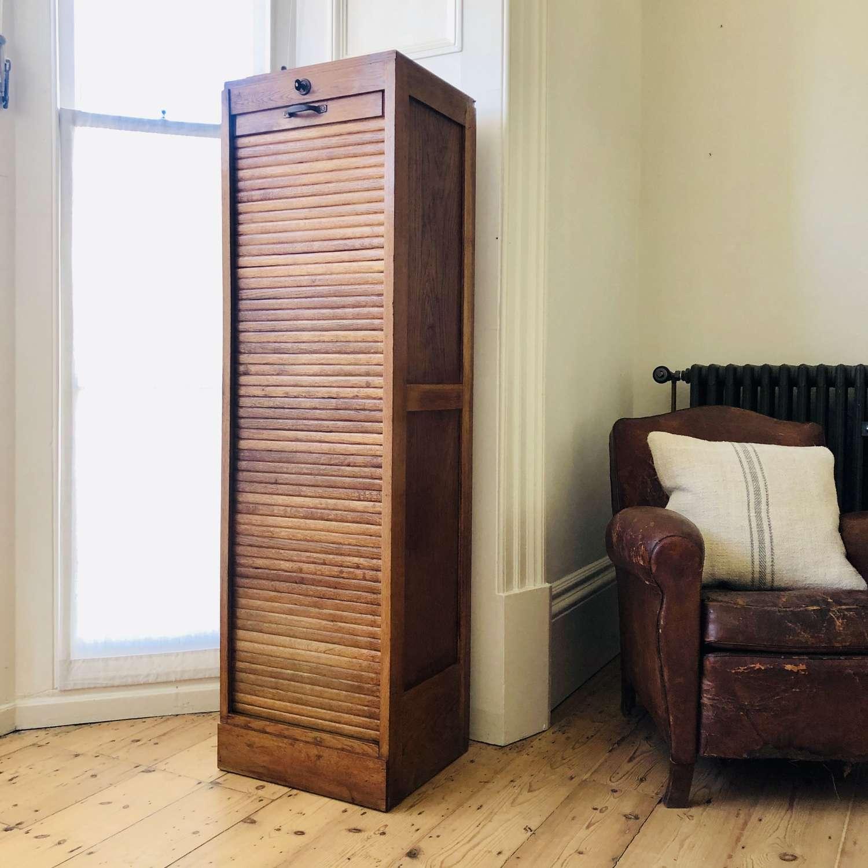 Antique vintage French oak tambour filing cabinet