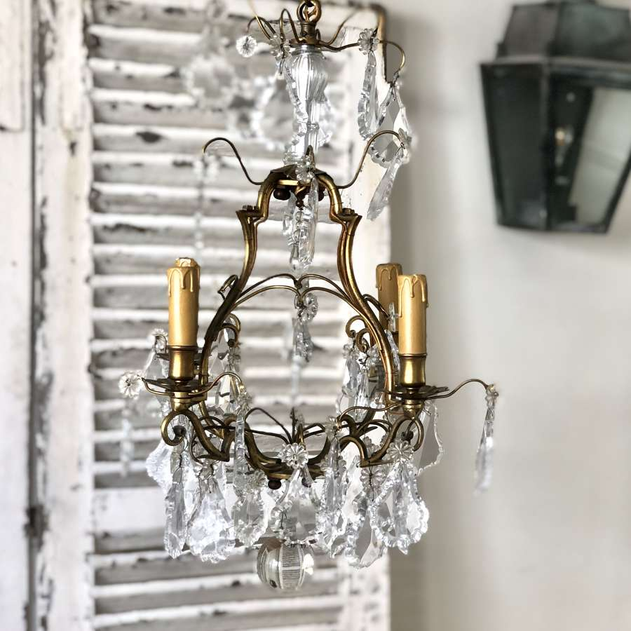 Antique French crystal cage chandelier