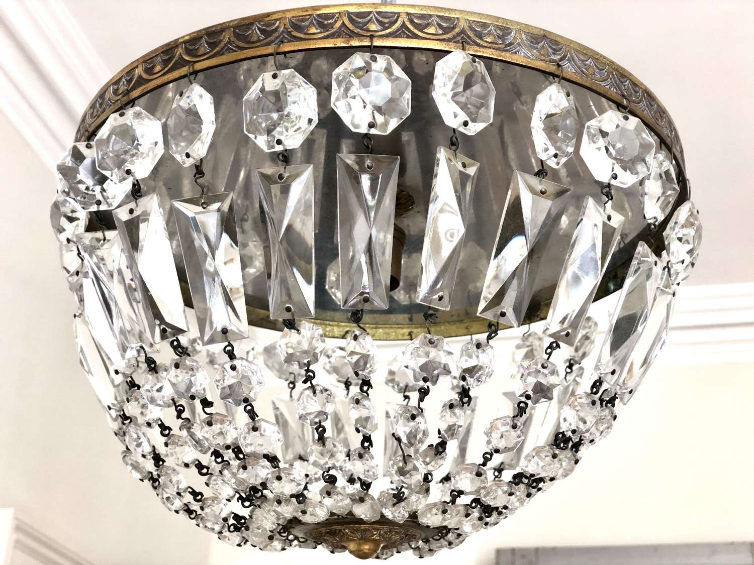 Antique French crystal bag chandelier