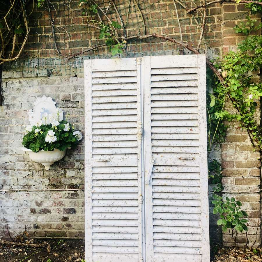 Antique French painted shutters