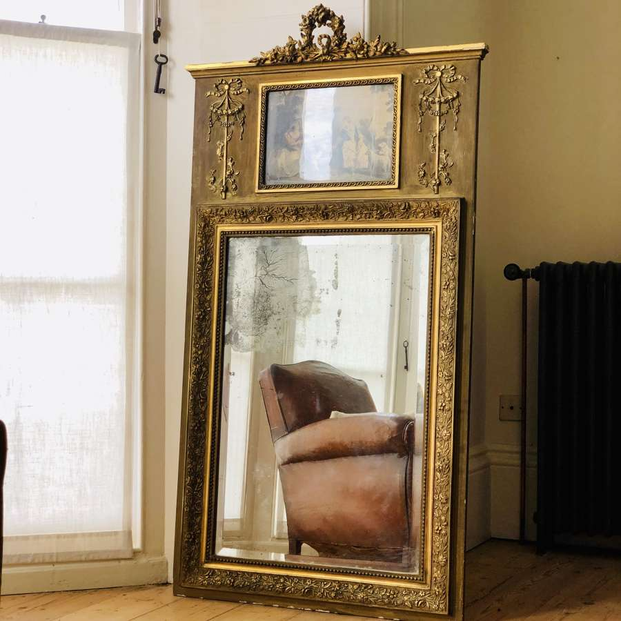 19th century antique  French gilt trumeau mirror