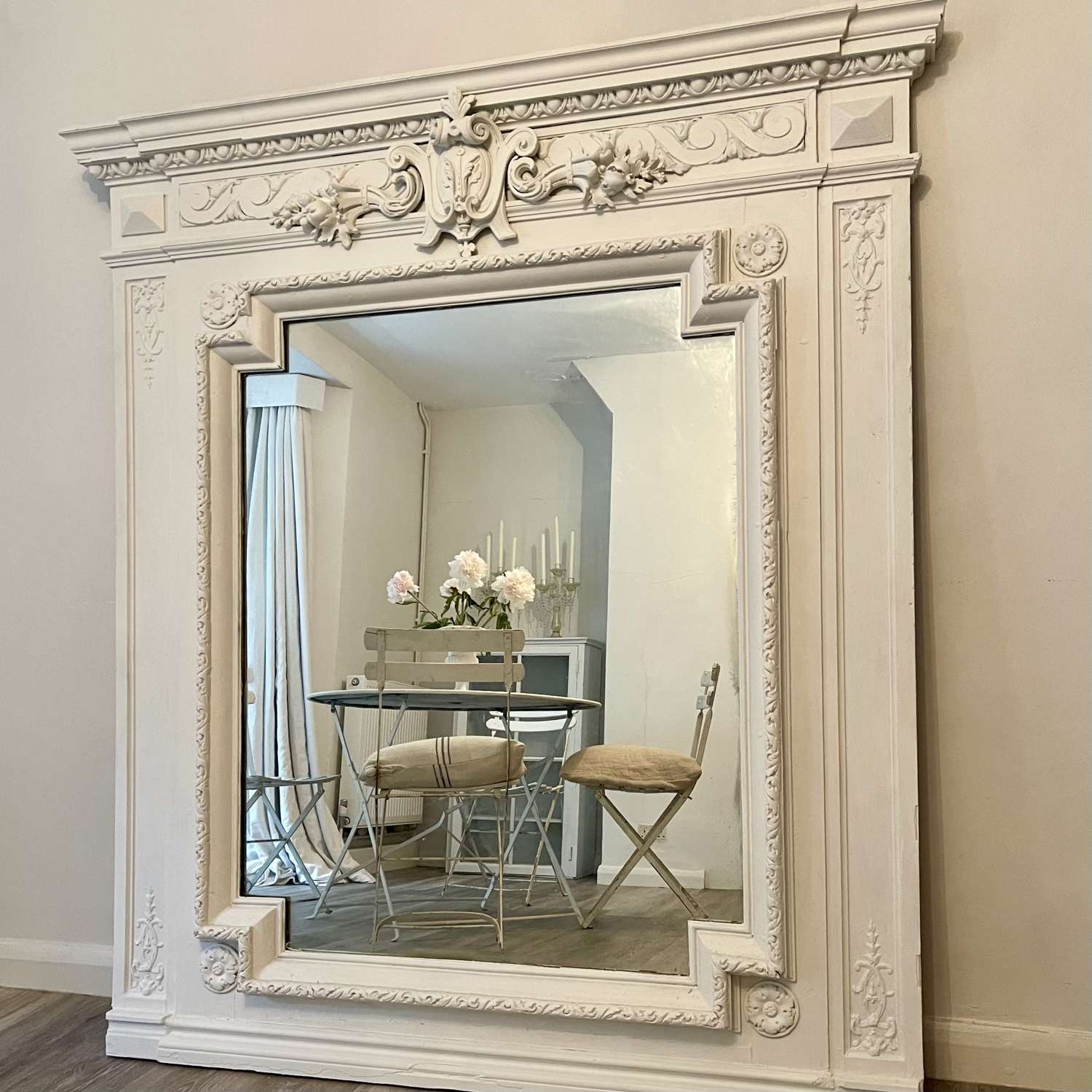 Large Antique French painted overmantel mirror