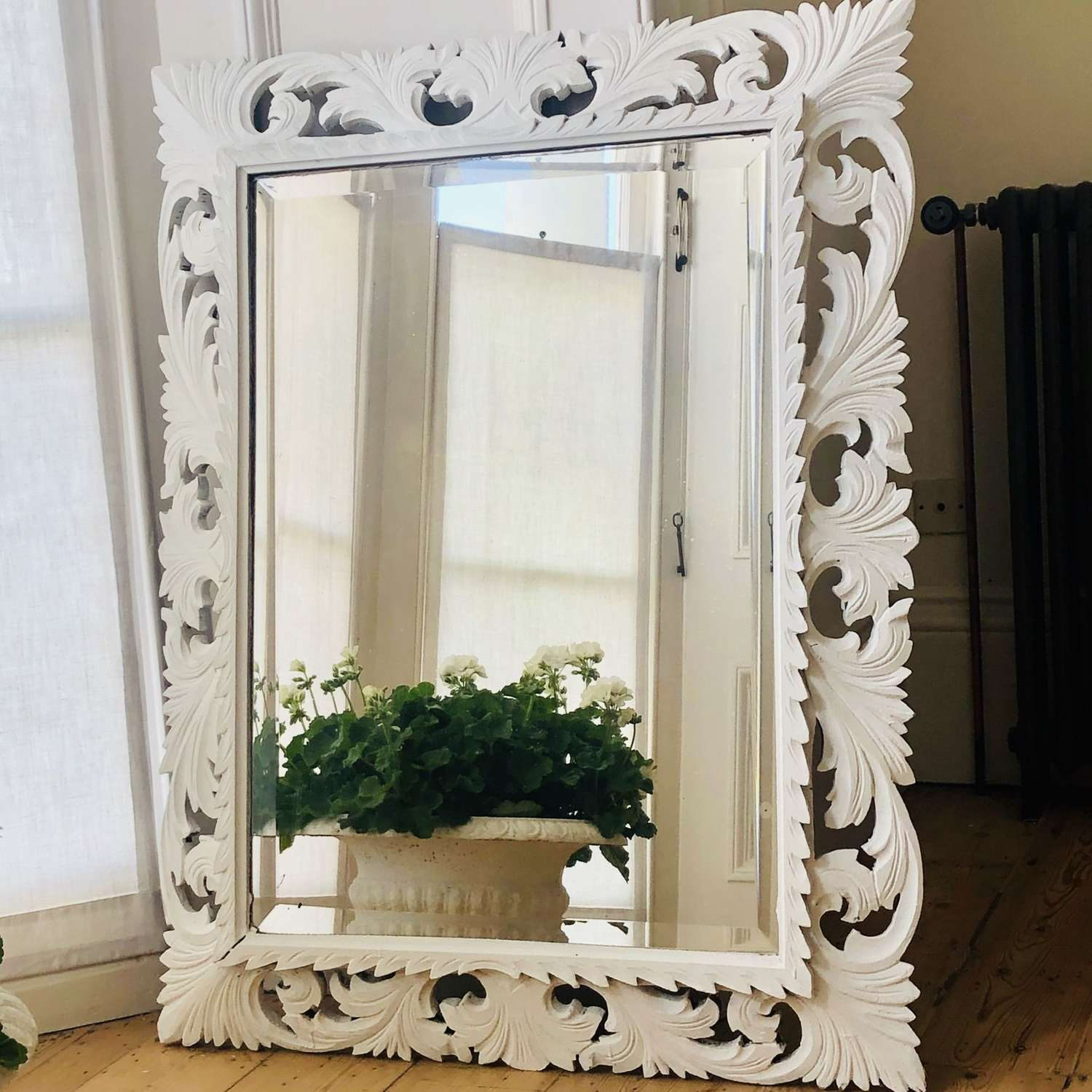 Vintage French painted mirror - bevelled glass